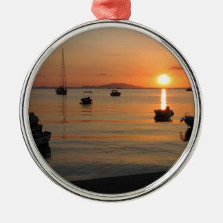 Summer Sunset in Novalja in Croatia Silbernes Ornament