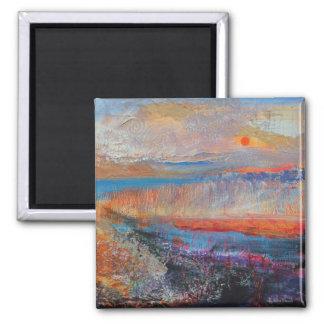 Sumpf-Sonnenuntergang 2013 Quadratischer Magnet