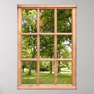 Sun durch die Baum-Ansicht von einem Fenster Poster