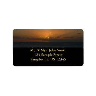 Sun hinter Meerblick-Fotografie der Wolken-II Adressaufkleber