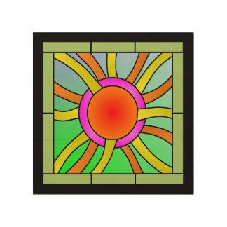 Sun mit Strahln-Deko-Kunst Holzdruck