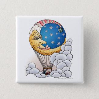 Sun-Mond hat Mond-Ballon-Flugzeug-Buttone in der Quadratischer Button 5,1 Cm