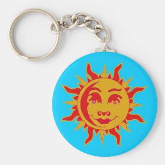 Sun-Motiv-Knopf-Schlüsselkette Schlüsselanhänger