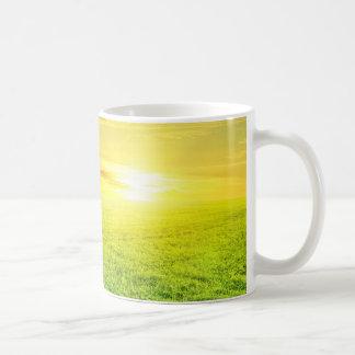Sun-Set über einem Feld Kaffeetasse