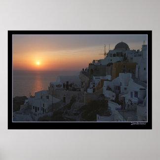 Sun-Sets auf Santorini Poster