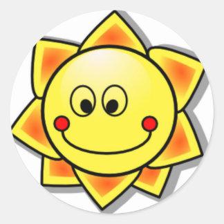 Sun-smiley, glücklicher Sun Runder Aufkleber