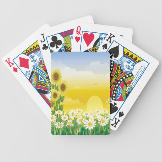 Sun, Sonnenblumen, weiße Blumen Bicycle Spielkarten