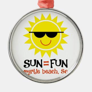 Sun = Spaß Silbernes Ornament
