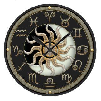 Sun- und Mond-Astrologie-Symbole Große Wanduhr