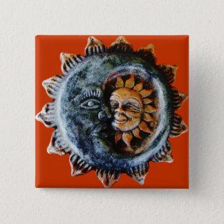 Sun und Mond Quadratischer Button 5,1 Cm