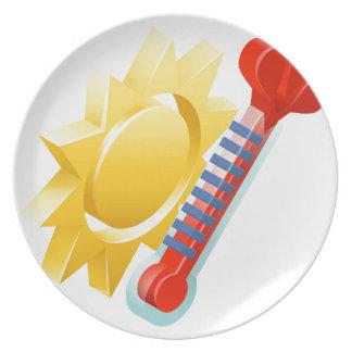 Sun- und Thermometer-Wetter-Ikonen-Konzept Melaminteller