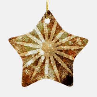 Sun-Universum-kosmische warme goldene Brown-Farben Keramik Ornament