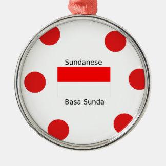 Sundanese-Sprache und Indonesien-Flaggen-Entwurf Silbernes Ornament