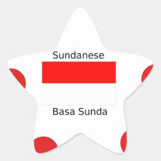Sundanese-Sprache und Indonesien-Flaggen-Entwurf Stern-Aufkleber