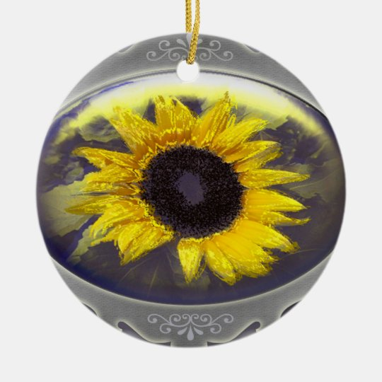 Sunflower Rundes Keramik Ornament