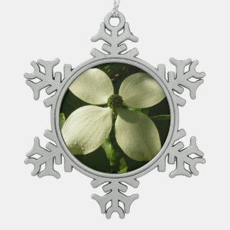 Sunlit Hartriegel-Blüten-weiße Frühlings-Blume Schneeflocken Zinn-Ornament