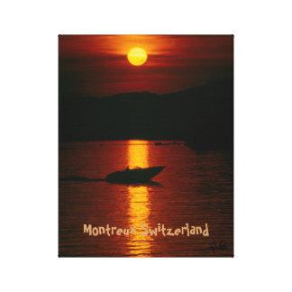 Sunset by Montreux Switzerland Leinwanddruck