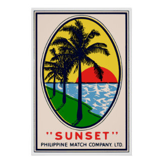 Sunset Philippine Match Company, Ltd.-Aufkleber Poster