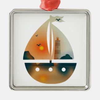 Sunset_sail Boot Silbernes Ornament
