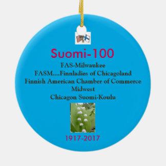 Suomi 100 Centennial-Andenken 1917-2017 Rundes Keramik Ornament