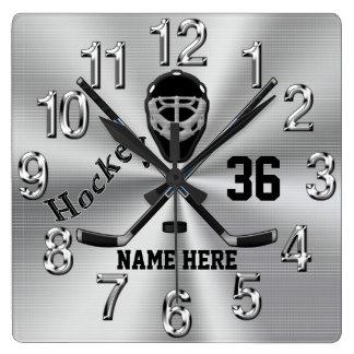 Super coole PERSONALISIERTE Hockey-Uhr für Jungen Quadratische Wanduhr