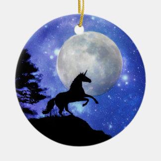 Super coole Unicorn-und Mond-Verzierung Keramik Ornament