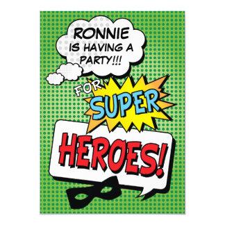Super Hero Comic Strip Mask Custom Kids Birthday 12,7 X 17,8 Cm Einladungskarte