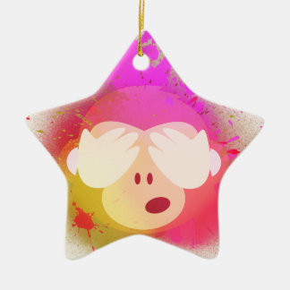 Super kreative Affe Emoji Sprühfarbe-Kunst Keramik Ornament