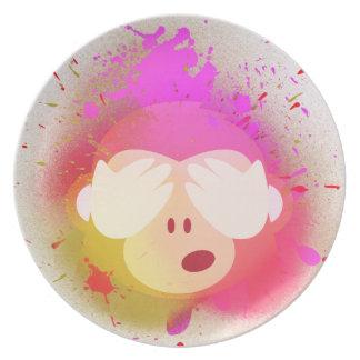 Super kreative Affe Emoji Sprühfarbe-Kunst Melaminteller