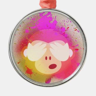 Super kreative Affe Emoji Sprühfarbe-Kunst Silbernes Ornament
