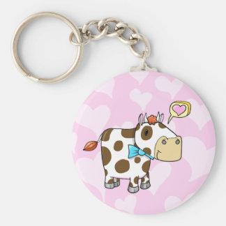 Super niedliche liebevolle Valentine-Kuh-Schlüssel Standard Runder Schlüsselanhänger