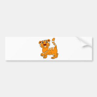 Super niedliche Tiger-Orange mit weißen Streifen Autoaufkleber
