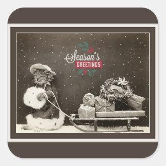Super niedliche Vintage Weihnachtskatze Quadratischer Aufkleber