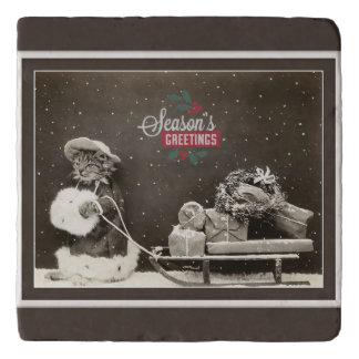 Super niedliche Vintage Weihnachtskatze Töpfeuntersetzer