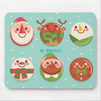 Super niedliche Weihnachtscharaktere in den Bällen Mousepads