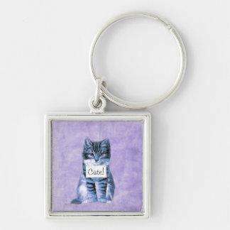 Super niedliches Katze keychain Silberfarbener Quadratischer Schlüsselanhänger