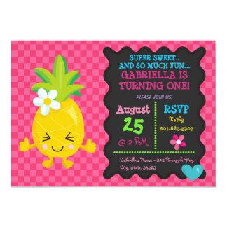 Super süße Ananas-erste Geburtstags-Einladung Karte
