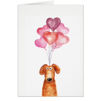 Supercute Aquarellhund mit Herzballonen Karte