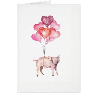 Supercute Aquarellschwein mit Herzballonen Karte