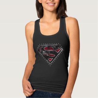 Supergirl beunruhigte Logo-Schwarzes und Rot Tank Top