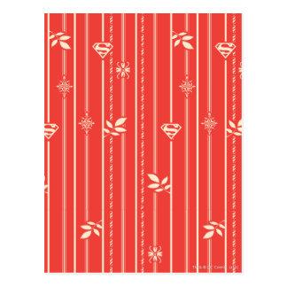 Supergirl Blatt-Muster-Rot Postkarte