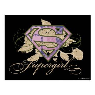 Supergirl Blumen Postkarte