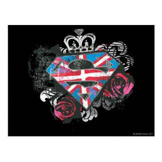 Supergirl britische Flagge und Rosen Postkarte
