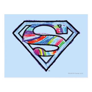 Supergirl buntes Skizze-Logo Postkarte