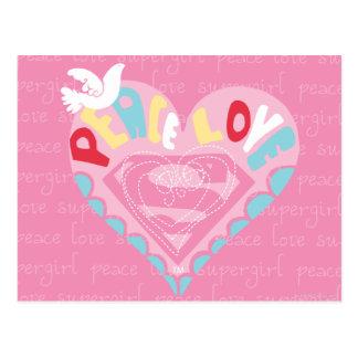 Supergirl Frieden und Liebe-Rosa Postkarte