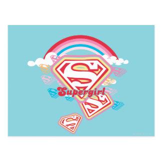 Supergirl Regenbogen Postkarte