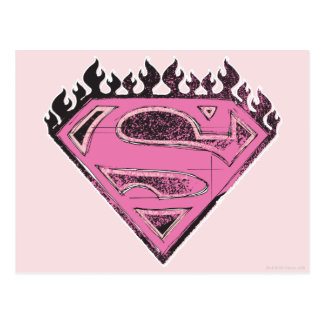 Supergirl rosa Logo mit Flammen Postkarte
