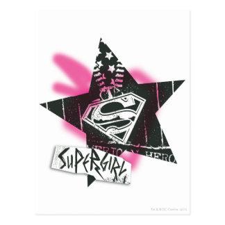 Supergirl rosa Sprühfarbe-Stern Postkarte