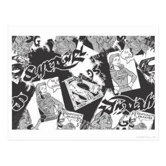 Supergirl Schwarzweiss-Collage Postkarte