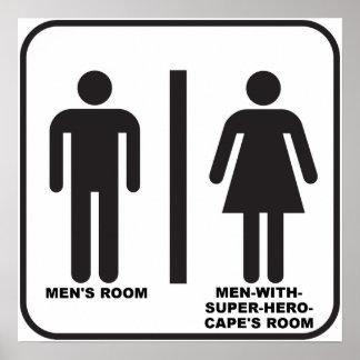 Superheld-Badezimmer-lustiges Plakat
